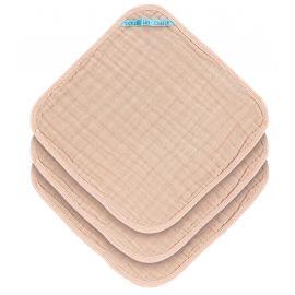 Set of 3 muslin washcloths - light pink
