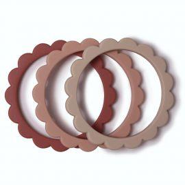 Set of 3 teethers - Flower bracelet - Blush + Rose + Shifting Sand