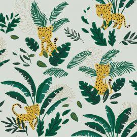 Wallpaper - Cheetah & tropical leaves - Light green background